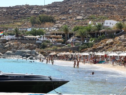 Mykonos gay beach schwuler Strand Jackie O